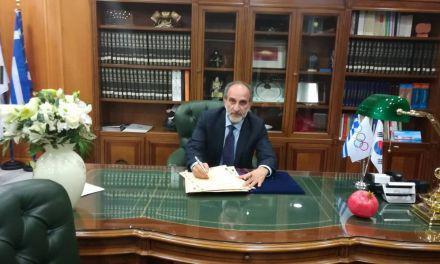 Ο Απ. Κατσιφάρας υπέγραψε τη διακήρυξη της Ολυμπιακής Εκεχειρίας